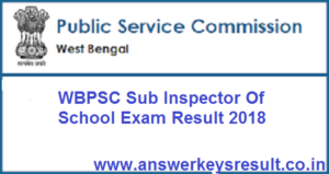 WBPSC Sub Inspector Of School Exam Result 2018