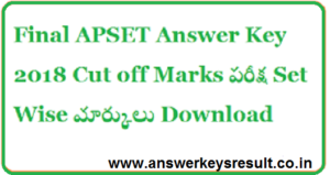 APSET 1ST July Exam Answer Key 2018