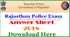 Rajasthan Police Constable 14th 15th July Exam Answer Key 2018